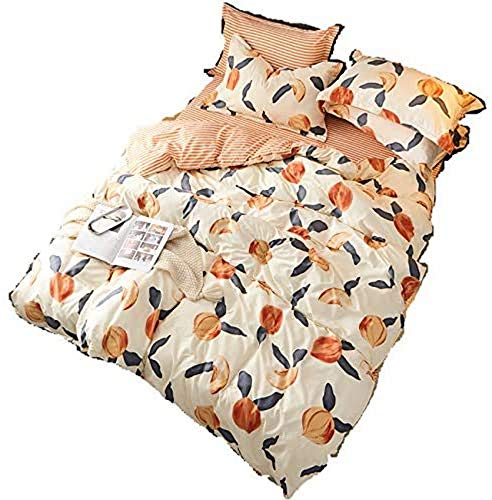 BJYG Duvet Cover Set Peach Bedding Set King Bed with 1 x Quilt Case 2 Pillowcases 4 Piece Nordic Print Duvet Set Orange