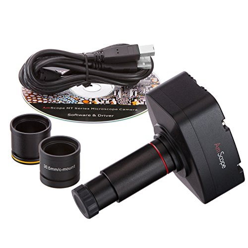 AmScope MA500-CK 5.0MP Digital Microscope Camera for Still and Video Images, 40x Magnification, Built-in 0.5x Reduction Lens, Eye Tube or C-Mount, USB 2.0 Output, Includes Software and Calibration Slide