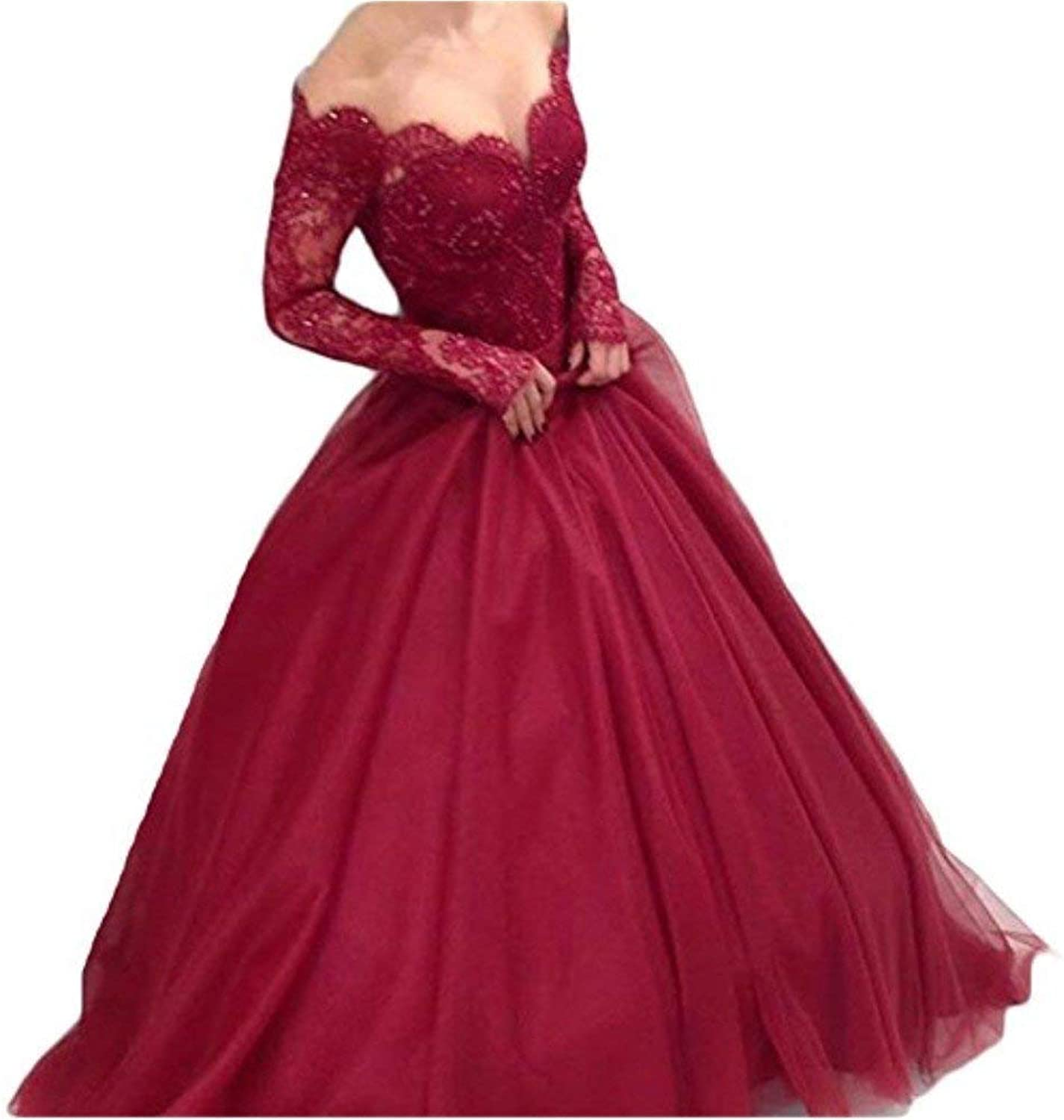 Darcy74Dulles Women's Off Shoulder Lace Prom Dress Long Sleeves Ball Gown for Bride