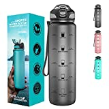 Taspire 1 Litre Time Marked Water Bottle with Straw, Leakproof BPA-free Tritan Water Bottle with Time Markings, Motivational Water Bottle with Times to Drink (Grey)