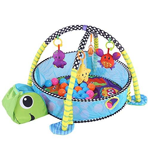 Cocoarm Schildkröte Erlebnisdecke Bällebad Krabbeldecke Spielbogen Spieldecke Lernmatte für Babys mit weichem Spielbogen Activity Decke mit 4 Abnehmbaren Spielzeugen 30 Bunte Kugeln