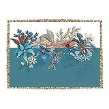 Tovaglietta Fiori Blu con frangia, 32x45 cm Blu
