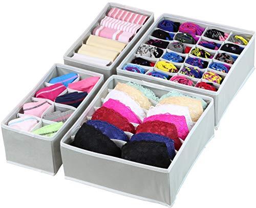 Simple Houseware Closet Underwear Organizer Drawer Divider 4 Set Gray