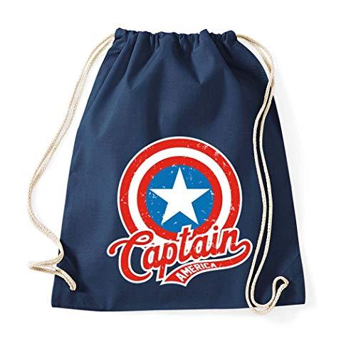 TRVPPY Baumwolltasche Turnbeutel Tasche Modell America Captain - Navyblau