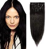 SEGO Extensions Naturelle a Clip Cheveux Humains Meche Remy Hair Froid Bande pas Cher [Volume Léger] 35cm - 1B#Noir Naturel