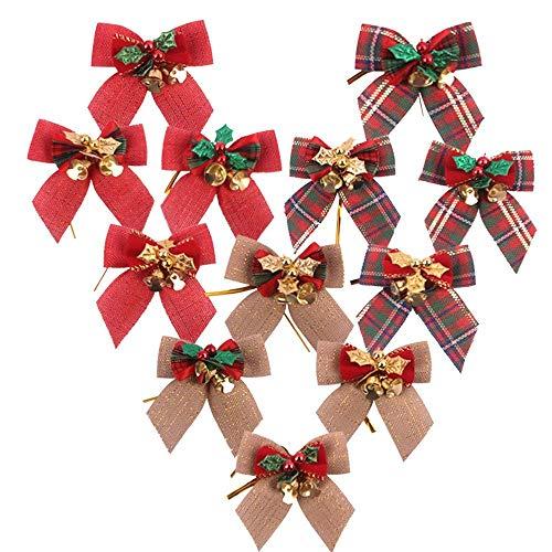 Arcos de la cinta de tartán Navidad Rojo y oro adorno de artesanía de comprobación de 4cm de ancho