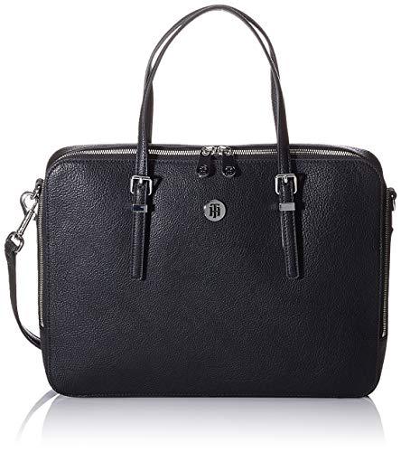 Tommy Hilfiger Damen Honey Computer Bag Umhängetasche, Schwarz (Black), 28x37x6cm