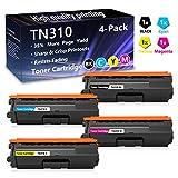 4 Pack (1BK+1C+1M+1Y) TN310 Toner Cartridge Replacement for Brother HL-4150CDN HL-4140CW HL-4570CDW HL-4570CDWT MFC-9640CDN MFC-9650CDW MFC-9970CDW Printer,Sold by AlToner.