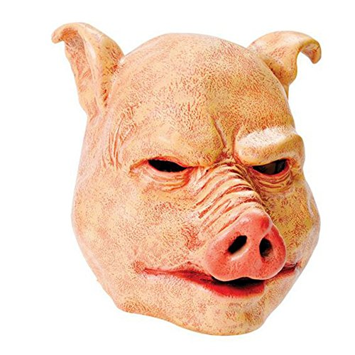 Halloween Mask Adult Pig Mask Adult Horror Mask Overhead Latex Pig Mask O/S by Star55