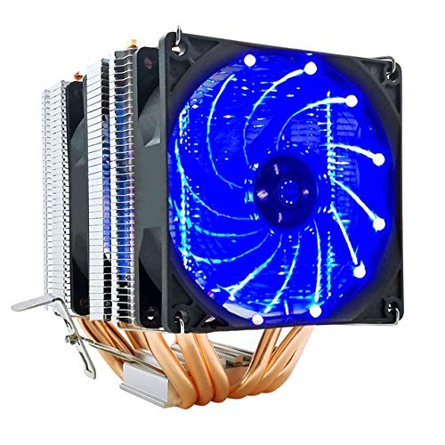 6 tubos de calor CPU Cooler RGB 90mm PWM de 4 pines PC tranquila for Intel LGA 775 1150 1151 1155 1366 AMD AM2 AM3 AM4 ventilador de la CPU ( Blade Color : Blue LED , Blade Quantity : 2 Fan 4Pin PWM )