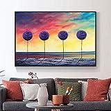 Cuadro del cartel del arte Pintura al óleo pintada abstracta Cielo colorido Planta púrpura Espátula gruesa Pintura Arte de la pared para la decoración del hogar 40x60cm sin marco