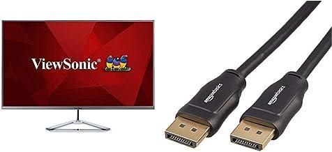 "ViewSonic 32"" 1080p Frameless IPS Monitor with Screen Split Capability HDMI and DisplayPort (VX3276-MHD) & AmazonBasics Hi..."