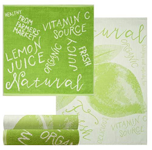Lashuma 4 Spültücher Grün aus 100{8333a2c9a9d9e42e775b8311a1064cade9fdc6eec92af3212fc4afde9d0f8075} Baumwolle, Motiv: Natur, 2x Geschirrtücher 70 x 50 cm - 2x Frottiertücher 50 x 50 cm