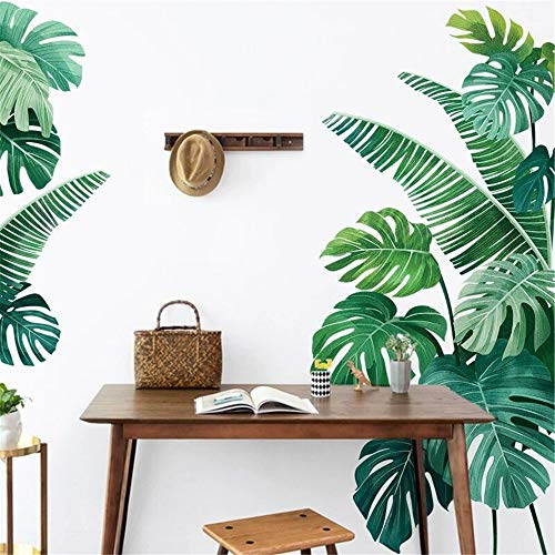 DERUN TRADING Leaf Wall Decals Palm Tree Wall Decals Green Leaves Wall Paper Evergreen Wall Sticker Removable Decal Peel and Stick Giant Wall Decals Painterly Ivy Peel and Stick Wall Decals
