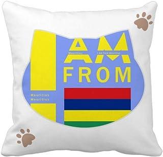 OFFbb-USA I Am from Mauricio - Funda cuadrada para almohada