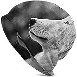 Portrait de Profil Animal dans la Nature Faune Carnivore Niveaux de Gris Photographie Canine Mode de Noël Chaud Unisexe Bonnet Chapeau