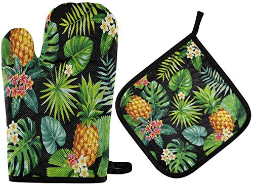 MODORSAN Hawaiian Seamless Pattern with Pineapples Tropica Oven Mitts and Pot Holders Sets Resistant Hot Pads with Polyester Non-Slip BBQ Gloves for Kitchen,Cooking,Baking,Grilling