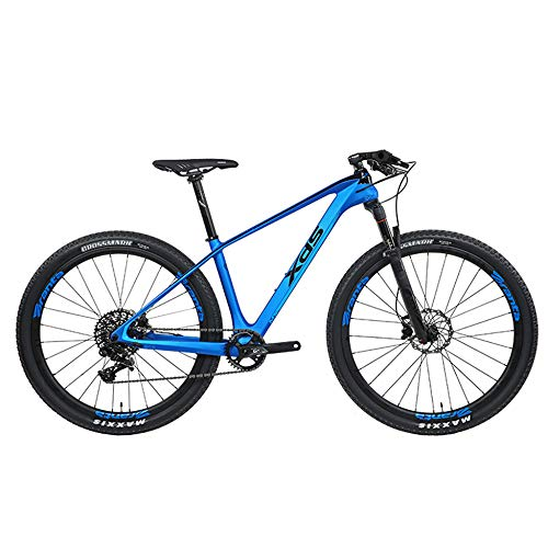 POTHUNTER Bicicleta De Carretera De Fibra De Carbono XDS-MT5 Conexión De Cambio FC-GX36T Bicicleta De Carrera Todoterreno Profesional,Blue17inch11speed-Wheeldiameter27.5inches