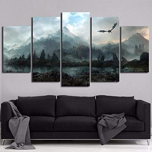 VTootkl 5 Lienzo Arte Panel Impresiones HD Juego Power Dragon Skyrim Pared decoración del dormitorios Modernos decoración