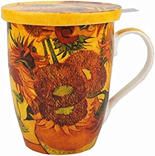 McIntosh Old Masters Vincent van Gogh Sunflowers Fine China Tea Mug with Infuser and Lid (MC020089)