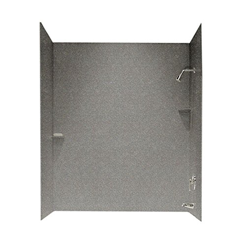 Product Image of the Swanstone SS00603.042 Solid Surface Glue-Up 3-Panel Bathtub Wall Kit, 30' L x 60' H x 60' H, Gray Granite
