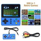Colmanda Handheld Spielkonsole, 500 Klassische Spielen Retro-Spielkonsole, 3.0-Zoll-LCD Bildschirm Handheld Konsole, TV-Ausgang und Unterstützt Zwei Spieler, Blau