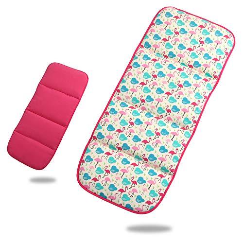 Fundas de algodón puro para asiento de bebé recién nacido, almohadillas acolchadas para cochecitos de bebé, cochecitos, jogger universal, doble cara, beige 78 x 32