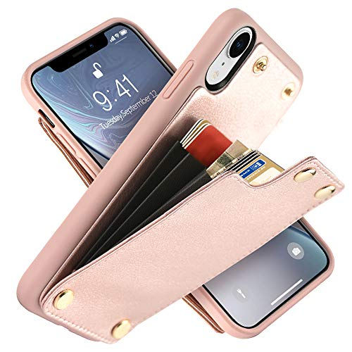 "LAMEEKU Wallet Case for Apple iPhone XR, 6.1-Inch, Shockproof Leather Credit Card Holder Slot Money Pocket Cases, Protective Bumper Phone Cover Compatible with iPhone XR 6.1"" (2018) Rose Gold"