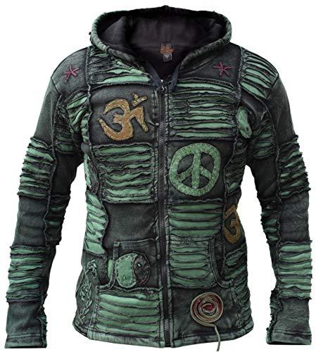 Gheri Men's Green Stonewashed Gothic Razor Cut Pixie Hood Jacket...