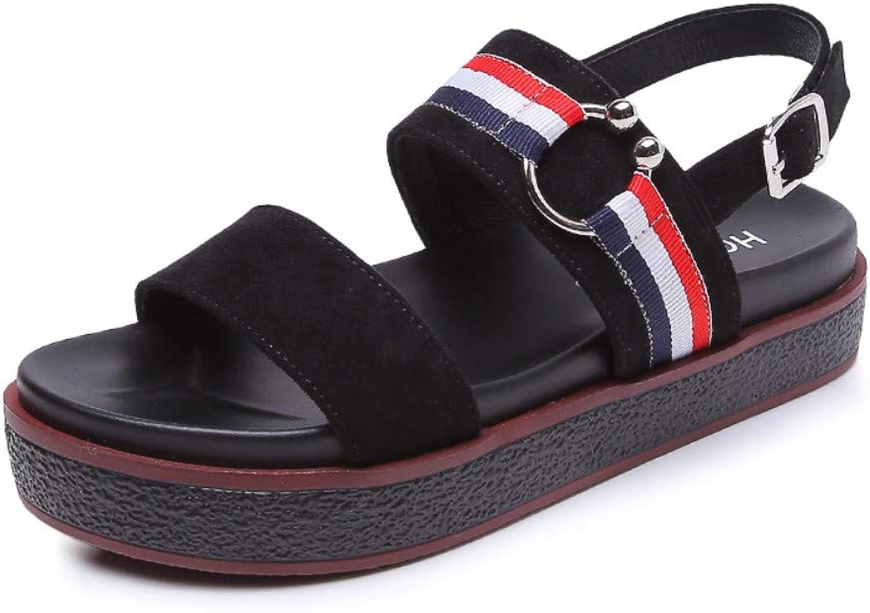 Sandaler för kvinnor, Retro Muffin Platform Platform Platform stora platta romerska skor, Bohemian Open Toe Harajuku Sandals, strand skor for Vaction  hetaste nya stilar