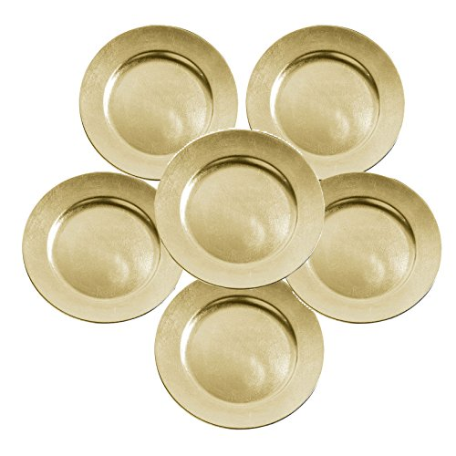 Set of 6 Gold Lacquer Decorative Charger Dinner Table Under Plate Christmas Mat