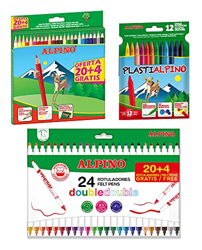 Lote material escolar Alpino: 24 lápices de colores + 24 rotuladores Double Double + 12 ceras Plastialpino, AL000965