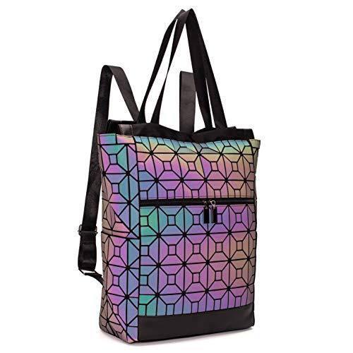 FZChenrry Geometrische Tasche Geometrischer Rucksack Damen Leuchtender Holographic Rucksäcke Reflektierend Festival Beutel NO.2
