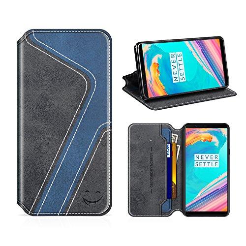 MOBESV Smiley OnePlus 5T Hülle Leder, OnePlus 5T Tasche Lederhülle/Wallet Hülle/Ledertasche Handyhülle/Schutzhülle mit Kartenfach für OnePlus 5T, Schwarz/Dunkel Blau