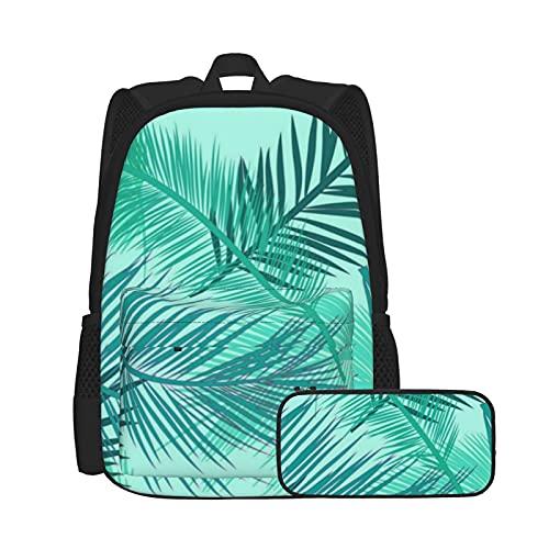 Asual - Juego de mochila y estuche para lápices, combinación, mochila de trabajo y estudio y bolsa de cosméticos con estampado de color turquesa y azul turquesa