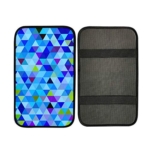 Cover For The Car Armrest Blue Clean Geometric Design Cushion Armrest For Car Console Armrest Pad 12.3 X 7.5 Inch Neoprene Car Armrest Seat Box Cover Protector For Most Vehicle