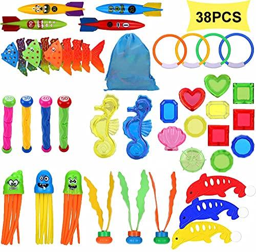 Welwoon Tauchen Spielzeug Set, 38 Pcs Schwimmbad Spielzeug Unterwasser Schwimmen Spielzeug Pool Tauchen Spielzeug für Kinder