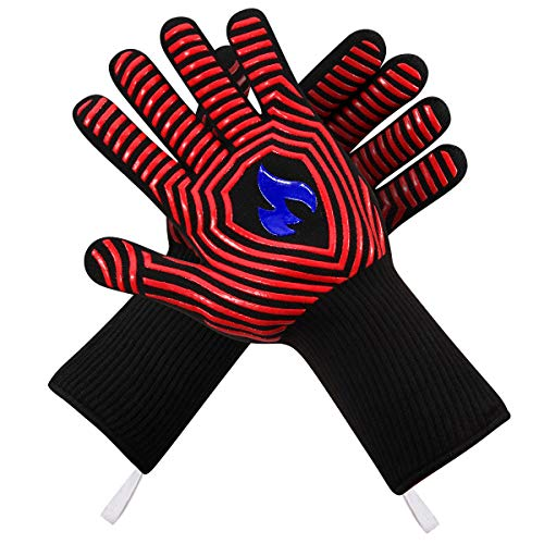 N/P Cmzailt BBQ Gloves 1472℉ Extreme Heat Resistant Food Grade Kitchen Fireproof Grill Gloves,Silicone Non-Slip Insulated Oven Mitts Universal Size for Cooking,Baking,Barbecue,Frying,Welding,Cutting