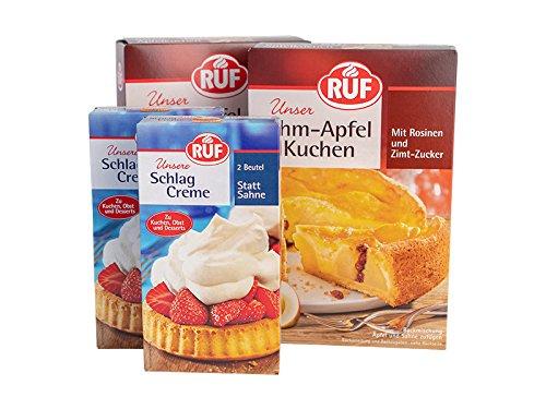 Kaffeetafel A: 2x RUF Schlagcreme 2er Pack 2x40g und 2 x RUF Rahm-Apfel Kuchen 435g