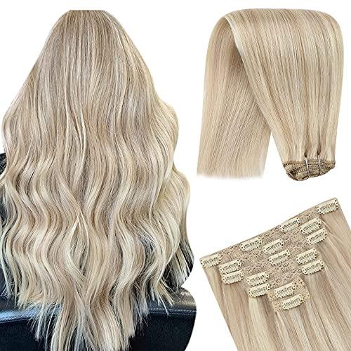 YoungSee 7pcs/100g Extension Cheveux Naturel a Clip Blond Highlighted Couleur #18/613 20Pouces Clip Extension Cheveux Remy Humain Blond Cendré Mixte B