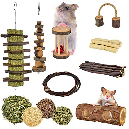 ERKOON New 12 Pack Hamster Chew Toys Gerbil Rat Guinea Pig Chinchilla Chew Toys Accessories, Natural Wooden Dumbbells Exercise Bell Roller Teeth Care Molar Toy for Rabbits Bird Rabbits Hamster Gerbil