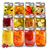 Sungwoo Mason Jars 16 Oz Regular Mouth Canning Jars with Sealed and Straw Lids for Jam Honey Snacks Candies (12 Pack)