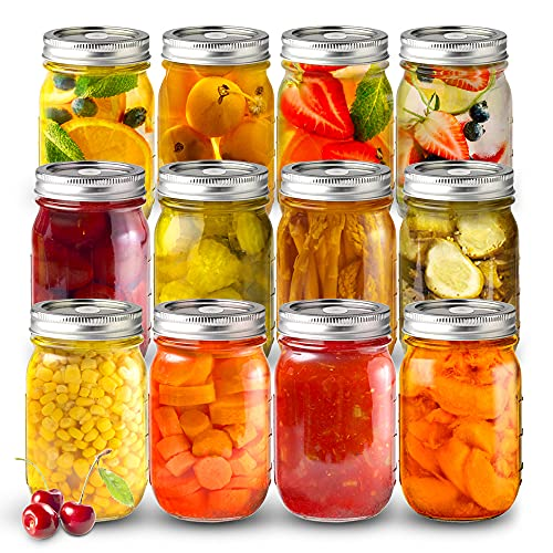 Product Image 1: Sungwoo Mason Jars 16 Oz Regular Mouth Canning Jars with Sealed and Straw Lids for Jam Honey Snacks Candies (12 Pack)