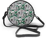 naotaori Bolso redondo mujer Hipsters Or Emo Women Soft Leather Round Shoulder Bag Zipper Circle Purses Sling Bag