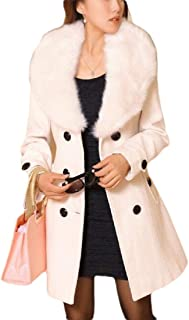 Generic Women's Wool Blend Slim Fit One Button Faux Fur Lapel Pea Coat