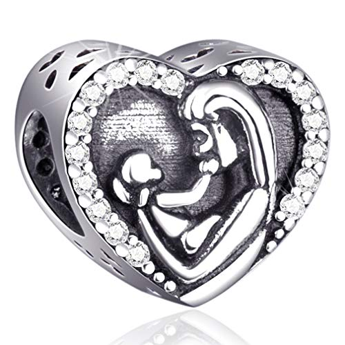 Mom and Child Charms Fit Pandora Charm Bracelets - 925 Sterling Silver Heart Beads for Necklace and European Snake Chain. Kids in Mother