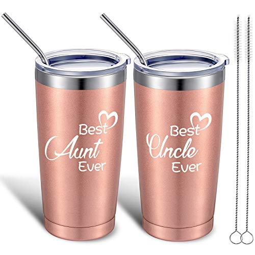2 Pieces Aunt Uncle Travel Tumblers Gift, Best Aunt and Best Uncle Ever Present, Auntie Uncle Birthday Christmas Gifts from Niece, Nephew, 20 oz Stainless Steel Mug Tumbler with Lid Straw and Brush