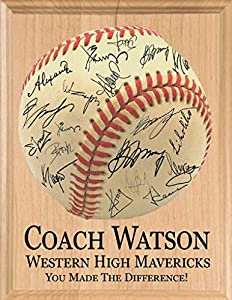 Have The Whole Baseball Team Sign This Custom Baseball Coach Gift Plaque To Create A Fantastic Team Appreciation Keepsake! This Personalized Signable Baseball Coaches Gift Will Be Cherished As A Sincere Team Thank You Award Plaque For Years To Come. ...