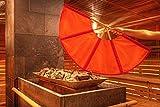 rot/orange Aufgussfächer, 105 cm Spannweite, Fächer Aufguss