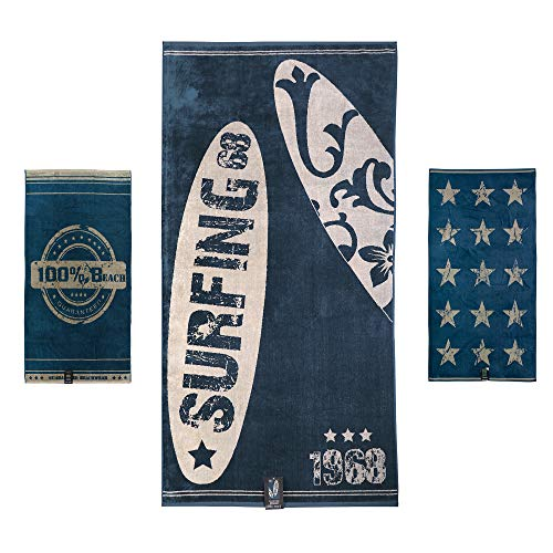jilda-tex Strandtuch 90x180 cm Badetuch Strandlaken Handtuch 100% Baumwolle Velours Frottier Pflegeleicht Verschiedene Designs (Surfing)